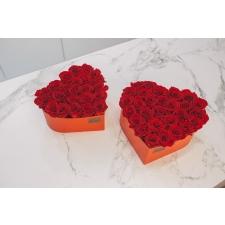 Südamekujuline lillekarp XL punane karp VIBRANT RED roosidega (23-25 roosi)