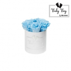 BABY BOY - WHITE VELVET BOX WITH 5 BABY BLUE ROSES