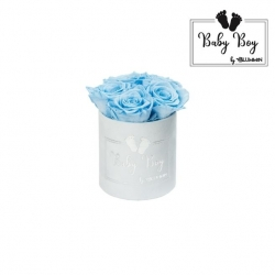 BABY BOY - LIGHT BLUE VELVET BOX WITH 5 BABY BLUE ROSES