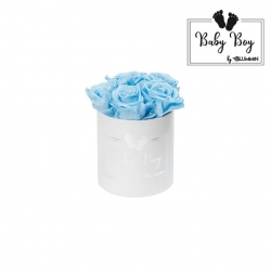BABY BOY - WHITE BOX WITH 5 BABY BLUE ROSES