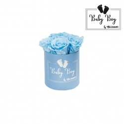 BABY BOY - BLUE BOX WITH 5 BABY BLUE ROSES