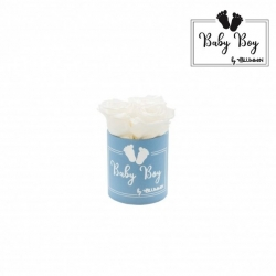 BABY BOY - BLUE BOX WITH 3 WHITE ROSES