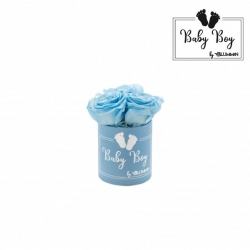 BABY BOY - BLUE BOX WITH 3 BABY BLUE ROSES