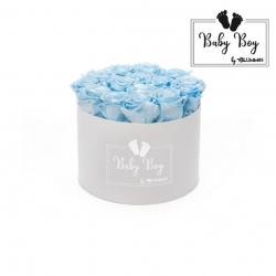 BABY BOY - WHITE BOX WITH 15 BABY BLUE ROSES