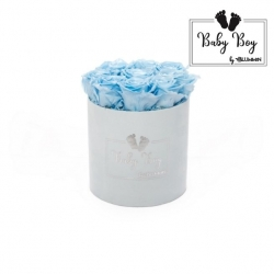 BABY BOY - LIGHT BLUE VELVET BOX WITH 9 BABY BLUE ROSES