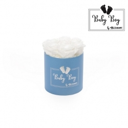 BABY BOY - BLUE BOX WITH 7 WHITE ROSES