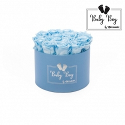 BABY BOY - BLUE BOX WITH 15 BABY BLUE ROSES