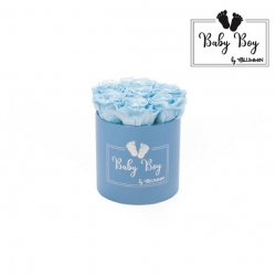 BABY BOY - BLUE BOX WITH 7 BABY BLUE ROSES