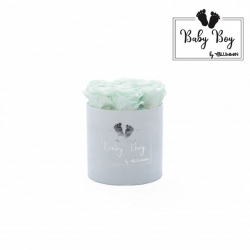 BABY BOY - LIGHT BLUE VELVET BOX WITH 7 MINT ROSES