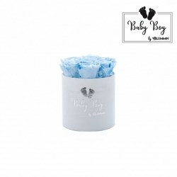 BABY boy - LIGHT BLUE VELVET BOX WITH 7 BABY BLUE ROSES