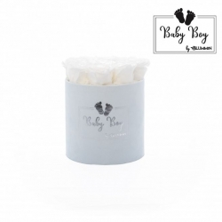 BABY BOY - LIGHT BLUE VELVET BOX WITH 9 WHITE ROSES