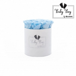 BABY BOY - WHITE VELVET BOX WITH 9 BABY BLUE ROSES