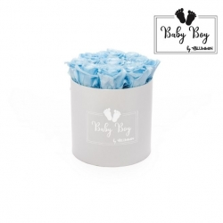 BABY BOY - WHITE BOX WITH 9 BABY BLUE ROSES
