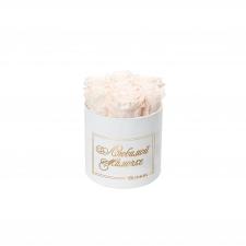 ЛЮБИМОЙ МАМОЧКЕ - SMALL WHITE VELVET BOX WITH ICE PINK ROSES