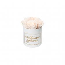 ЛЮБИМОЙ МАМОЧКЕ - MIDI WHITE VELVET BOX WITH ICE PINK ROSES