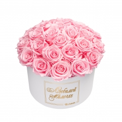 ЛЮБИМОЙ МАМОЧКЕ BOUQUET WITH 25 ROSES - LARGE BLUMMIN WHITE BOX WITH BRIDAL PINK ROSES