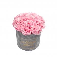 ЛЮБИМОЙ МАМОЧКЕ BOUQUET WITH 15 ROSES -  MEDIUM LIGHT GREY VELVET BOX WITH BRIDAL PINK ROSES