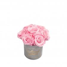 ЛЮБИМОЙ МАМОЧКЕ BOUQUET WITH 7 ROSES - MIDI LIGHT GREY VELVET BOX WITH BRIDAL PINK ROSES