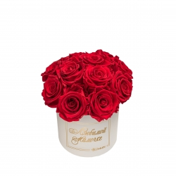 BOUQUET WITH 11 ROSES - SMALL BLUMMiN  CREAMY BOX WITH VIBRANT RED ROSES