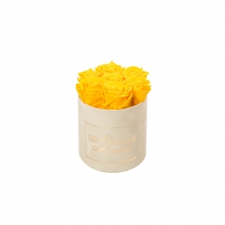 ЛЮБИМОЙ МАМОЧКЕ - SMALL NUDE VELVET BOX WITH YELLOW ROSES