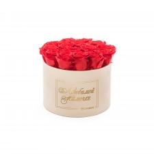 ЛЮБИМОЙ МАМОЧКЕ - LARGE (17 ROSES) NUDE VELVET BOX WITH VIBRANT RED ROSES