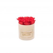 ЛЮБИМОЙ МАМОЧКЕ - SMALL NUDE VELVET BOX WITH VIBRANT RED ROSES