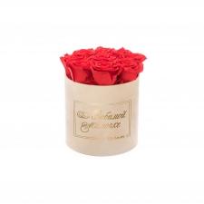 ЛЮБИМОЙ МАМОЧКЕ - MEDIUM NUDE VELVET BOX WITH VIBRANT RED ROSES