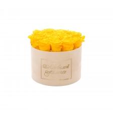 ЛЮБИМОЙ МАМОЧКЕ - LARGE (17 ROSES) NUDE VELVET BOX WITH YELLOW ROSES