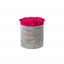 RAKKAALLE ÄIDILLE - MEDIUM LIGHT GREY VELVET BOX WITH HOT PINK ROSES