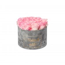 RAKKAALLE ÄIDILLE - LARGE LIGHT GREY VELVET BOX WITH LOVELY PINK ROSES