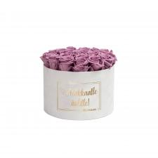 RAKKAALLE ÄIDILLE - LARGE WHITE VELVET BOX WITH LILAC ROSES