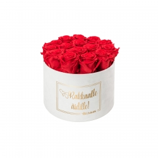 RAKKAALLE ÄIDILLE - LARGE WHITE VELVET BOX WITH RED ROSES