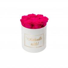 RAKKAALLE ÄIDILLE - MEDIUM WHITE VELVET BOX WITH HOT PINK ROSES