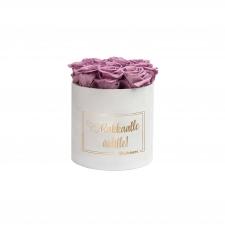 RAKKAALLE ÄIDILLE - MEDIUM WHITE VELVET BOX WITH LILAC ROSES