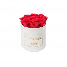 RAKKAALLE ÄIDILLE - MEDIUM WHITE VELVET BOX WITH RED ROSES