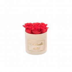 RAKKAALLE ÄIDILLE - SMALL CREAM VELVET BOX WITH RED ROSES