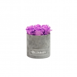 SMALL LIGHT GREY VELVET BOX WITH VIOLET VAIN ROSES