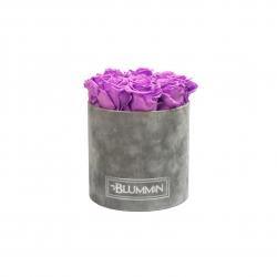 MEDIUM LIGHT GREY VELVET BOX WITH VIOLET VAIN ROSES