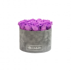 LARGE LIGHT GREY VELVET BOX WITH VIOLET VAIN ROSES