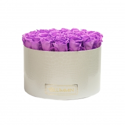 EXTRA LARGE WHITE LEATHER BOX WITH VIOLET VAIN ROSES