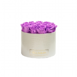 LARGE WHITE LEATHER BOX WITH VIOLET VAIN ROSES