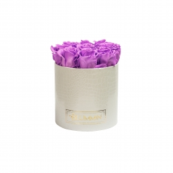 MEDIUM WHITE LEATHER BOX WITH VIOLET VAIN ROSES