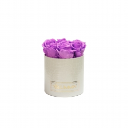 SMALL WHITE LEATHER BOX WITH VIOLET VAIN ROSES