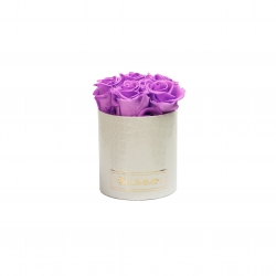MIDI WHITE LEATHER BOX WITH VIOLET VAIN ROSES