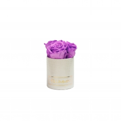 XS WHITE LEATHER BOX WITH VIOLET VAIN ROSES