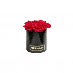 BLUMMIN MIDI BLACK LEATHER BOX WITH 5 VIBRANT RED ROSES