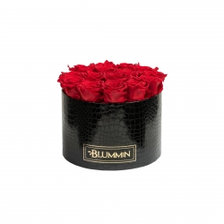 LARGE BLACK LEATHER BOX WITH VIBRANT RED ROSES