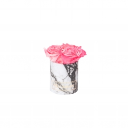XS WHITE MARBLE BOX WITH CANDY PINK ROSES