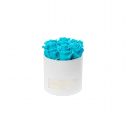 SMALL BLUMMiN - WHITE BOX WITH AQUAMARINE ROSES