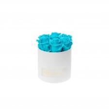 SMALL BLUMMiN- WHITE BOX WITH AQUAMARINE ROSES
